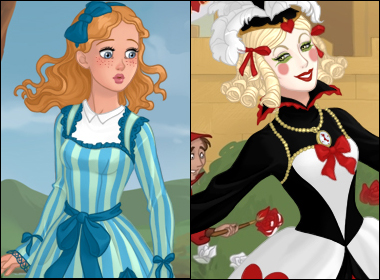 Alice in Wonderland and the Queen of Hearts