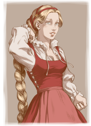 Rapunzel as a young fraulein
